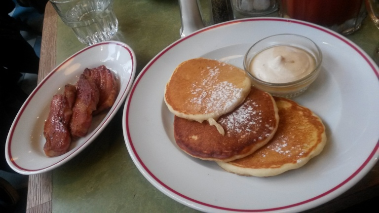 Buttermilk Pancakes, banana cream, maple syrup & slab bacon