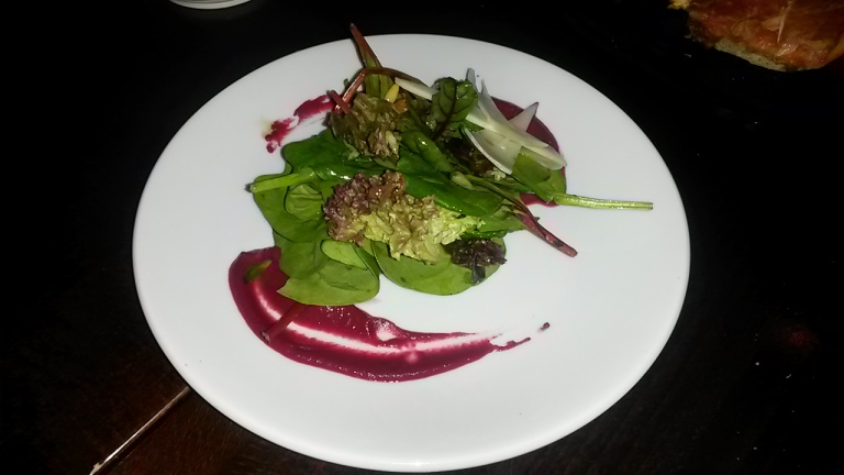 "Beetroot salad – ""mix leaves, manchego cheese, pine nut & beetroot puree"""