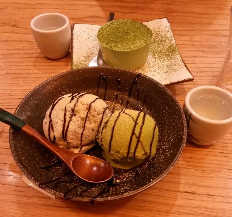 Matcha Cheesecake and Matcha & Sesame Ice Cream