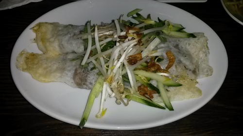 Warm rice paper crepe stuffed with mushrooms
