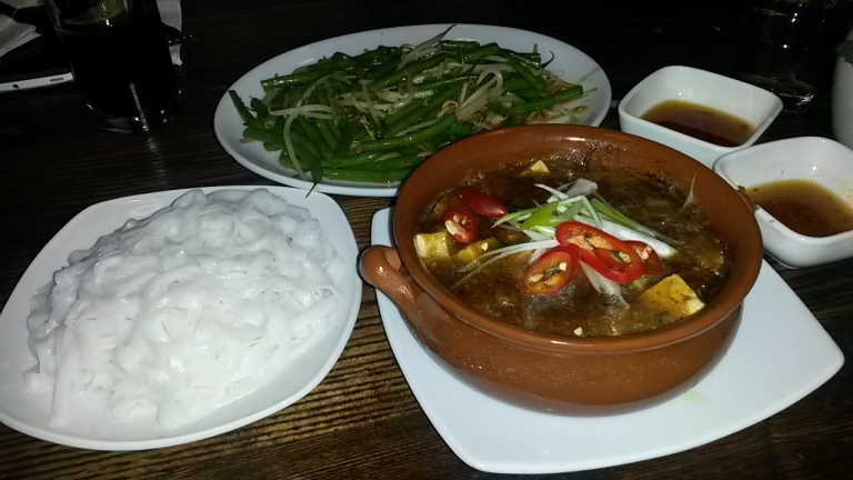 Tofu Hot Pot, Fresh Flat Rice Noodles and Stir-Fry Fine Beans with Garlic
