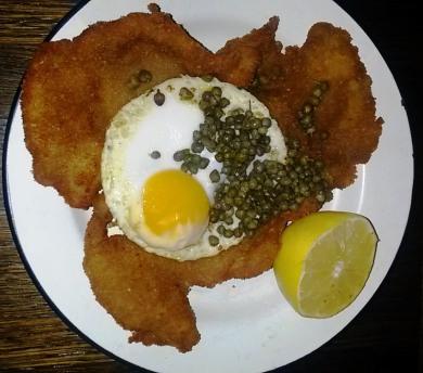 Pork Schnitzel with Duck Egg & Capers