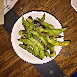 Flamed Edamame with Sake, Lemon, Butter and Maldon Salt